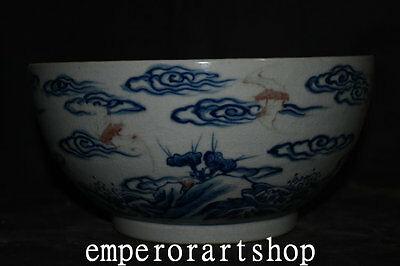 """9""""Old China Antique Famille-rose Porcelain Painted aerial Bat Aerial mammal Bowl"""