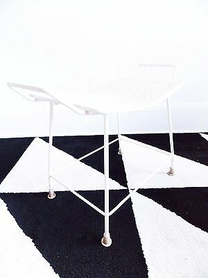 mid century white metal footstool /vintage 1950s ottoman/ 50s vanity chair bench