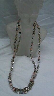 Beautiful  artisan Holly Yashi multi colors crystal necklace extra long 44 inche