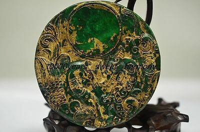 Ancient Chinese Old Jade Manual Carved Dragon&phoenix Ink Stone G3