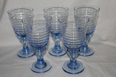 """Vintage Libbey Sirrus Blue Water Goblets Set Of 5 Glasses 7"""" X 3 1/2"""""""