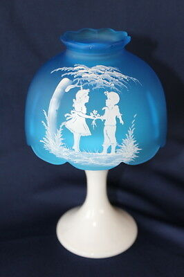 Vintage Westmoreland Glass Mary Gregory Blue Mist Milk Glass Base Candle Lamp