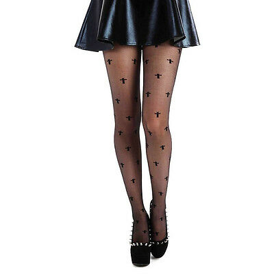 b0dac51b2505c Black sheer Tights Stockings with small Crosses Gothic Goth Witch Pamela  Mann