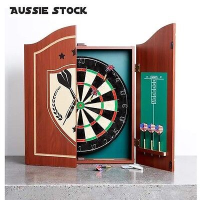 Retro style Dartboard Set with Cabinet 6 darts and chalk - limited stock