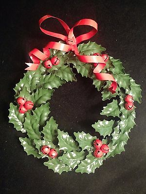 Metal Holly Leaf and Berries Christmas Wreath w/ Metal Bow and Jingle Berries
