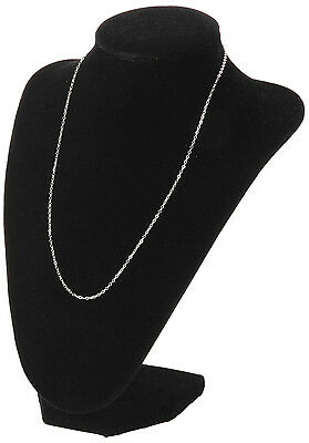 Black Velvet Necklace Pendant Chain Link Jewelry Bust Display Holder Stand