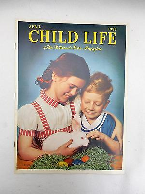 Vintage CHILD LIFE Magazine April 1939 EASTER Children with Bunny on Cover