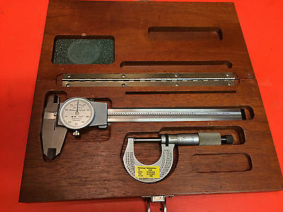 "Brown & Sharpe 6"" Dial Caliper w/Micrometer & Case Calibrated"