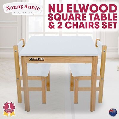 Nu Elwood Kids Solid Wooden Square Table & 2 Chairs Set -  White