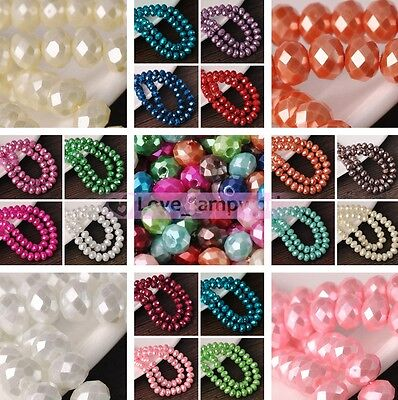 Hot Wholesale 6mm 8mm Glass Pearl Crystal Faceted Rondelle Spacer Loose Beads