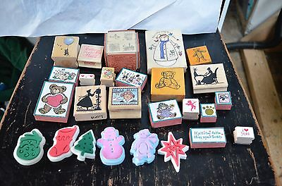 High Quality Wood & various Rubber Stamps Scrapbooking Lot of 25 Various PIECES