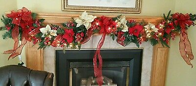 Decorated  Pre Lit Red And Gold Christmas Mantel Garland Swag