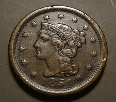 1851 Braided Hair Large Cent, Xf