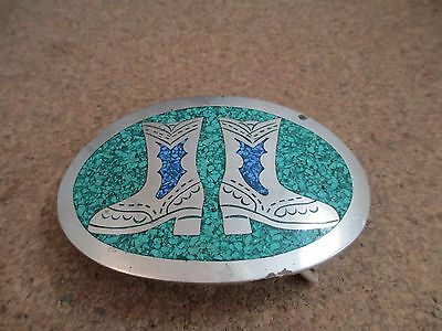 Vintage Belt Buckle Western Cowboy Boots Crushed Turquoise Inlay Silver Tone