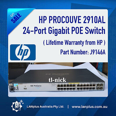 HP Procurve 2910AL-24G POE 24-Port Gigabit POE Layer 3 Switch J9146A + warranty