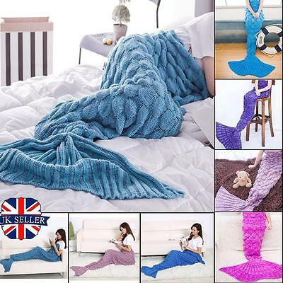 Mermaid Tail Blanket Handmade Knit Crocheted Cocoon Sofa Beach Quilt Rug Lapghan