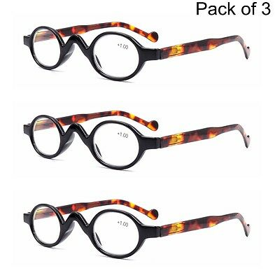 3 PACK Vintage Retro Small Round Oval Reading Glasses 1.0 1.5 2.0 2.5 3.0 3.5