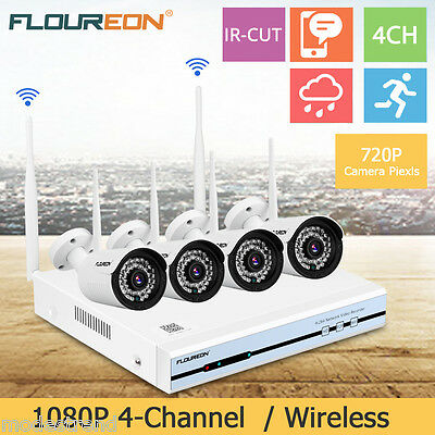 4CH Wireless NVR 1080P DVR Wifi 3000TVL HDMI CCTV Home Security IP Camera System