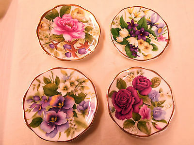Set of 4 Lovely small Floral Dishes for Trinkets etc Really Bright Colours