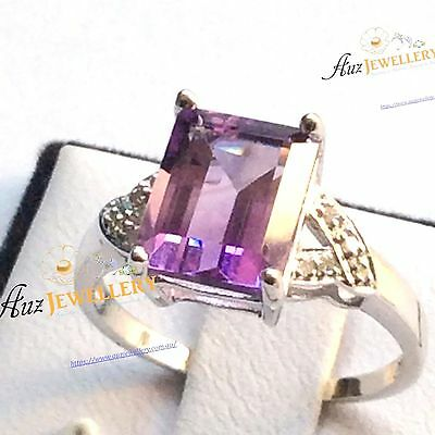 Real 9K White Gold 3.28ct Emerald Cut Natural Purple Amethyst with Diamond Ring