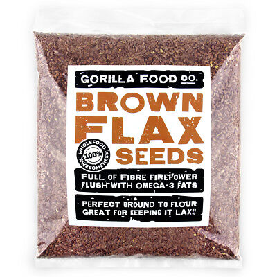 Gorilla Food Co. Brown Flax Seeds (Linseeds) - 400g (Great value £ per 1kg)