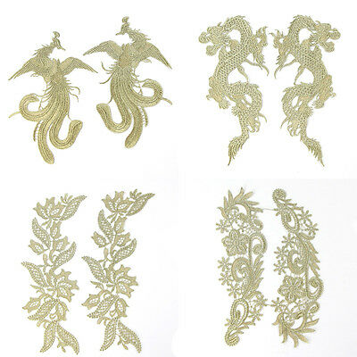 2 Pcs Gold Flowers Dragon Phoenix Trimming Embroidery Sewing Applique Patch