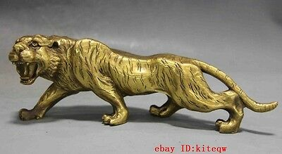 Chinese Fengshui Copper brass Animal Zodiac Year Lucky Tiger Statue