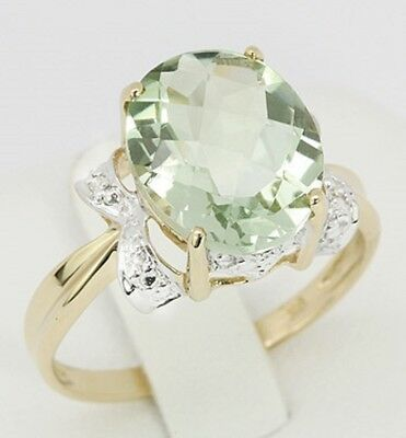9ct Gold Fine Jewellery | 4.31ct Oval Cut Natural Green Amethyst & Diamond Ring