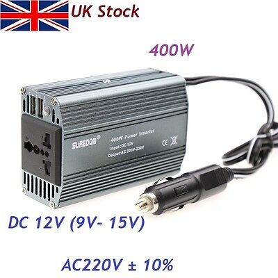400W 400 Watt Car Vehicle DC 12V & AC 220V Power Inverter Adapter Converter USB