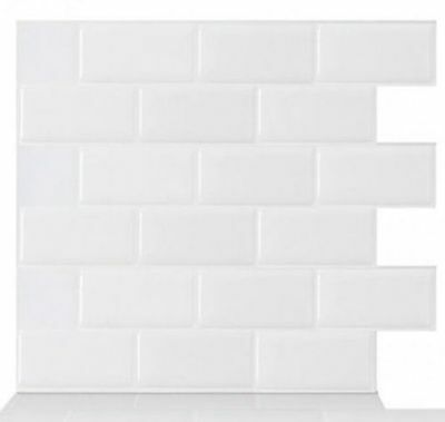 Tic Tac Tiles® -High Quality 3D Peel & Stick Wall Tile in Subway White(5 sheets)