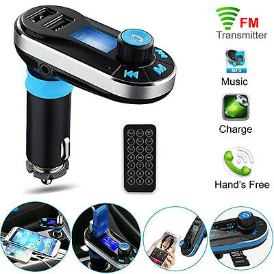 Bluetooth Handsfree Car Kit MP3 FM Transmitter SD Dual USB Charger For Phones