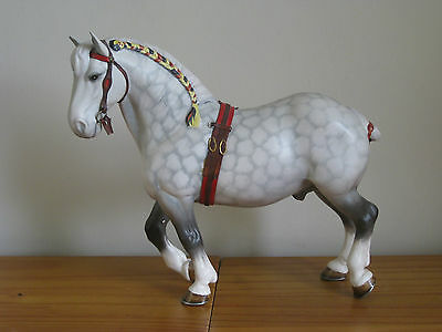BESWICK  PERCHERON 2464 Harnessed Horses - Dapple Grey Matt 1974-1982.