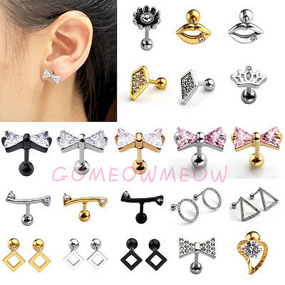 16G Steel Crystal Ball Beads Barbell Ear Stud Tragus Cartilage Earring Piercing