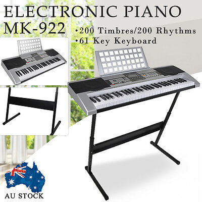 61 Keys LCD Display Electronic Piano Music Keyboard With Stand Power Adapter