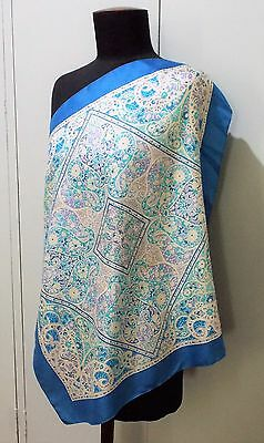 Vintage 1970s Blue & White Floral Liberty Silk 59cm Square Scarf- Minor Flaws