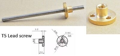 1 x 300mm T5 lead screw for 3D printer . Tracked post