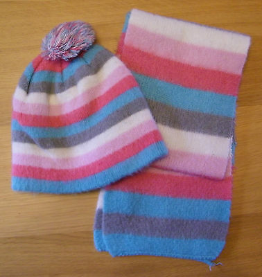 Girls - Multi Colour - Scarf & Hat Set - 3/6 Years - Peacocks  - Used