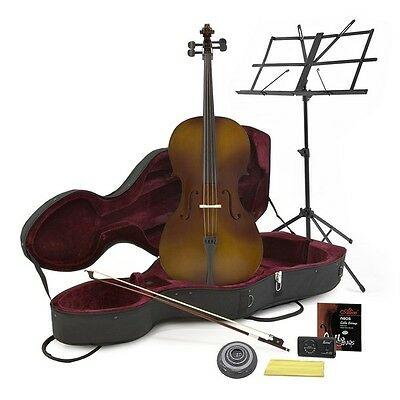 Student 4/4 Size Cello with Case Antique  + Beginner Pack