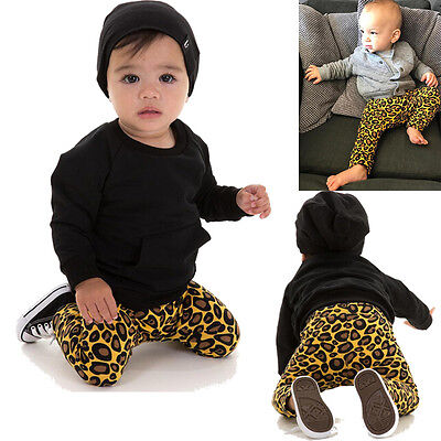 Newborn Infant Baby Boy Girls Leopard Pant Bottom Harem Pants Leggings Trousers