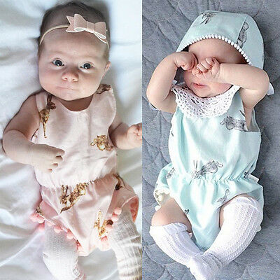 Newborn Infant Toddler Baby Girls Rabbit Bunny Romper Jumpsuit Playsuit Outfits