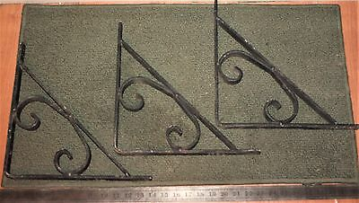 "3~VINTAGE 12""x12""x17"" GOTHIC-ISH WROUGHT IRON CORBELS/SHELF BRACKETS-4lbs EACH!"