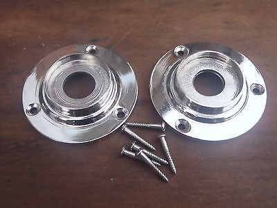 2 ART DECO PLAIN CHROME DOOR KNOB BACK PLATES 60 mm SUIT RIM LOCK DOOR KNOBS.