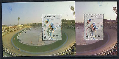 1988 Olympics $6 Cycling mini sheet - colour omitted?? MUH MS178