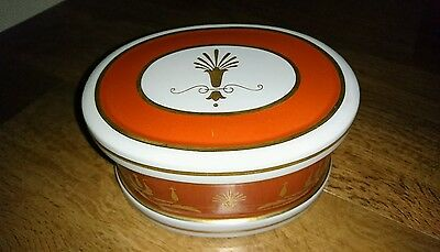 Fab Vista Alegre ~ Portugal Empire-Red Porcelain Large Oval Trinket Box &  Cover