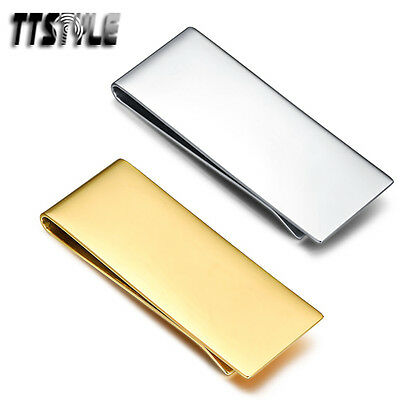 TTstyle Polished Flat 316L Stainless Steel Money Clip Silver/Gold NEW
