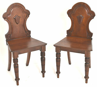 Pair Of C19th Antique Victorian Hall Side Chairs