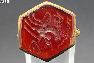 Old Medieval Carnelian Intaglio Centauri Stone Gold Plated Ring Size 9 Us#359