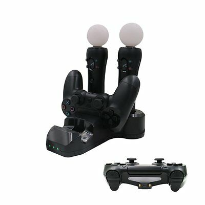 4 in 1 Dual USB Charger Dock For PS4 Controller PS Move Black
