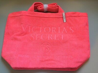 NWT Victorias Secret Terry Tote Beach Bag VS NEW Pink Travel Large 2016 Gym