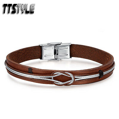 TTstyle Brown Genuine Leather 316L Stainless Steel Wired Wristband NEW
